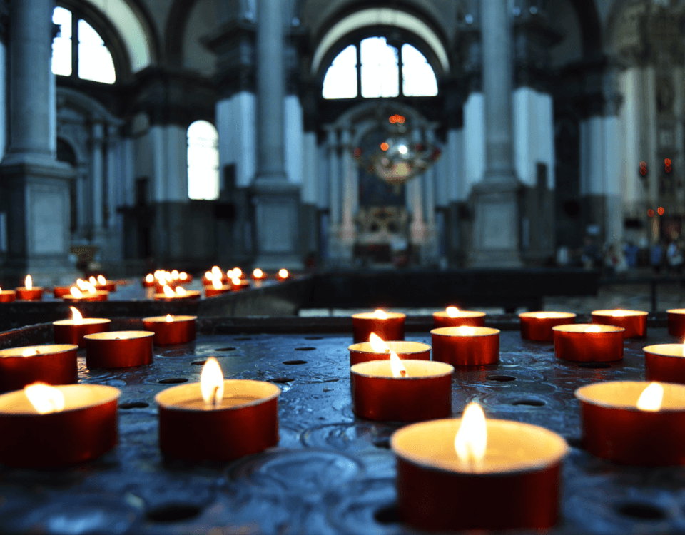 tea candles in church